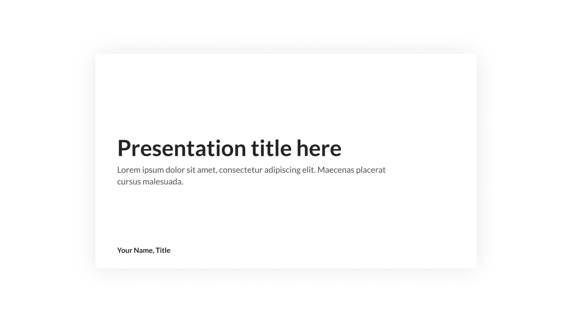 Minima Presentation Template