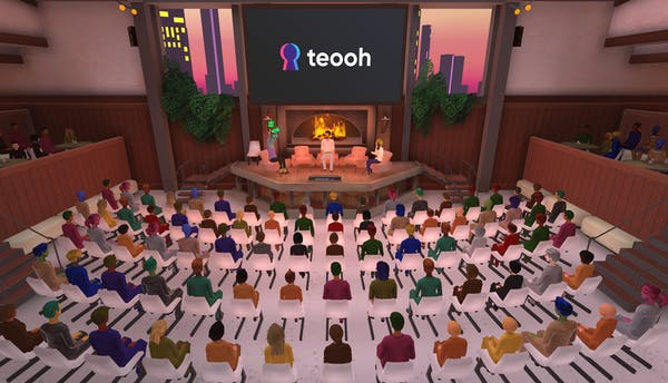 large fireside chats on Teooh's virtual reality platform
