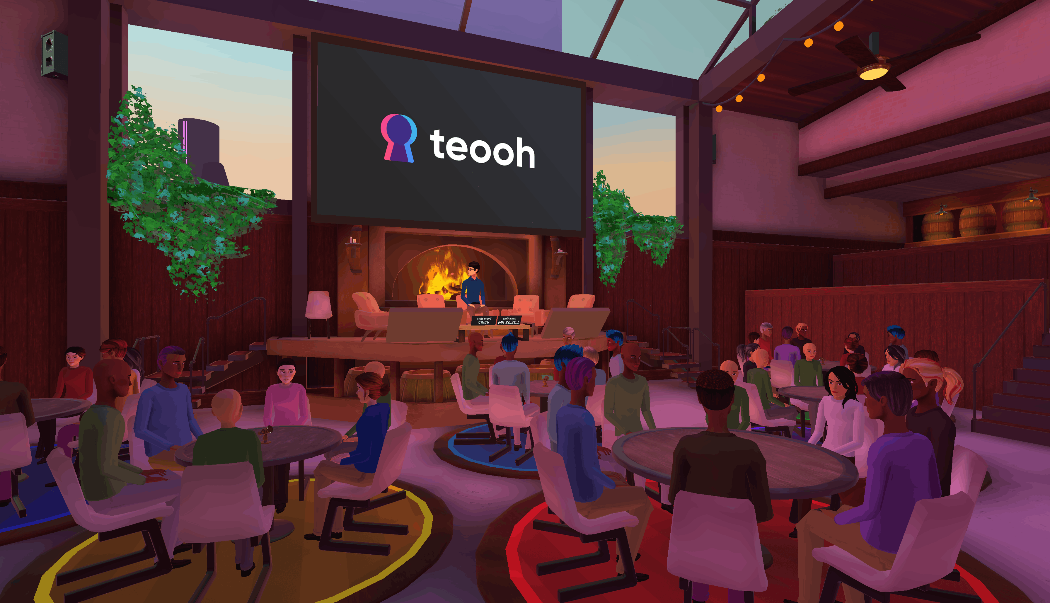 large-scale personal gathering in Teooh's avatar-based virtual reality platform