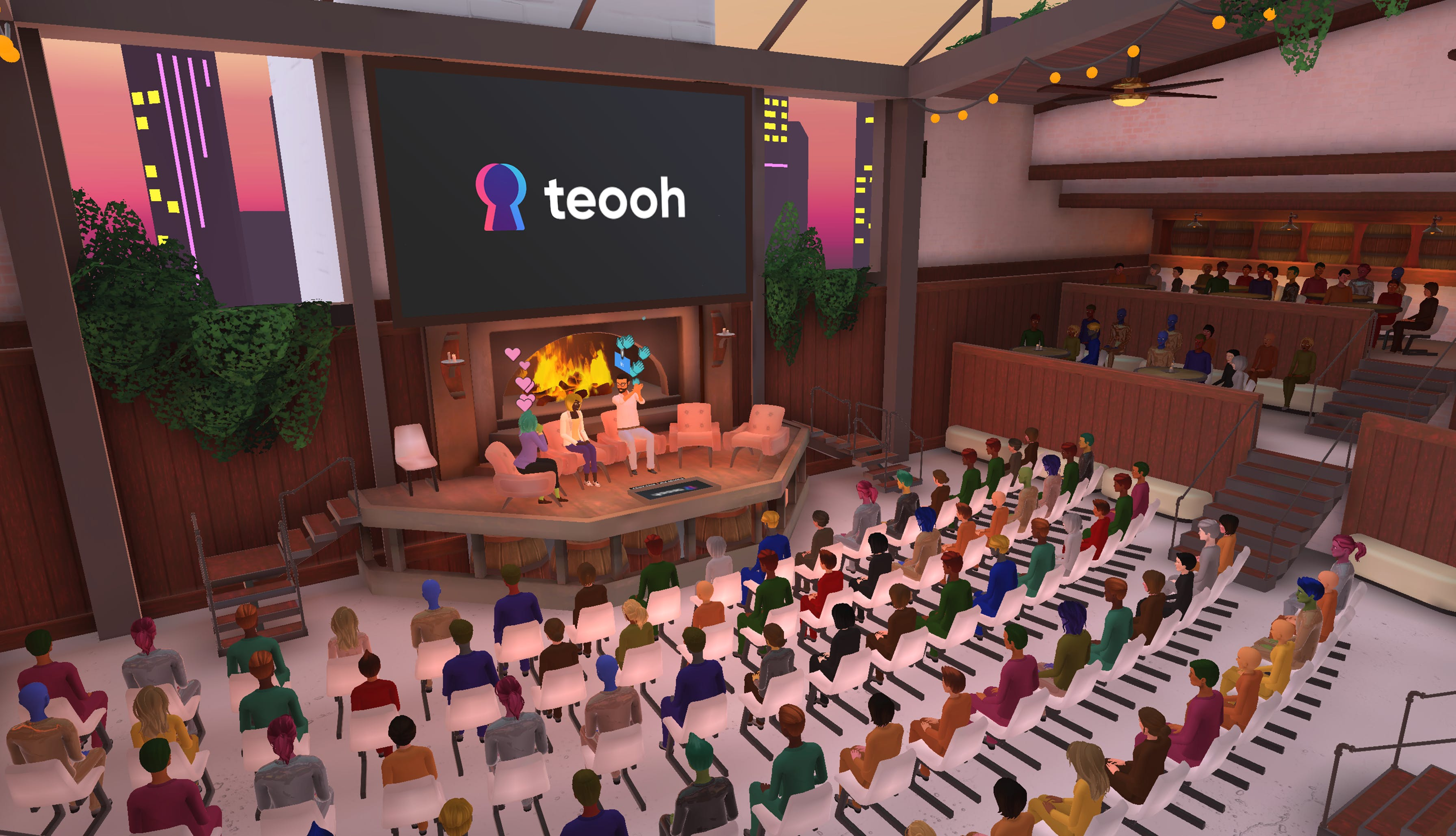 large fireside panels on Teooh's virtual reality platform