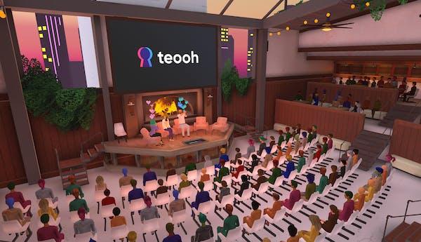 large fireside panels on Teooh's virtual reality platform