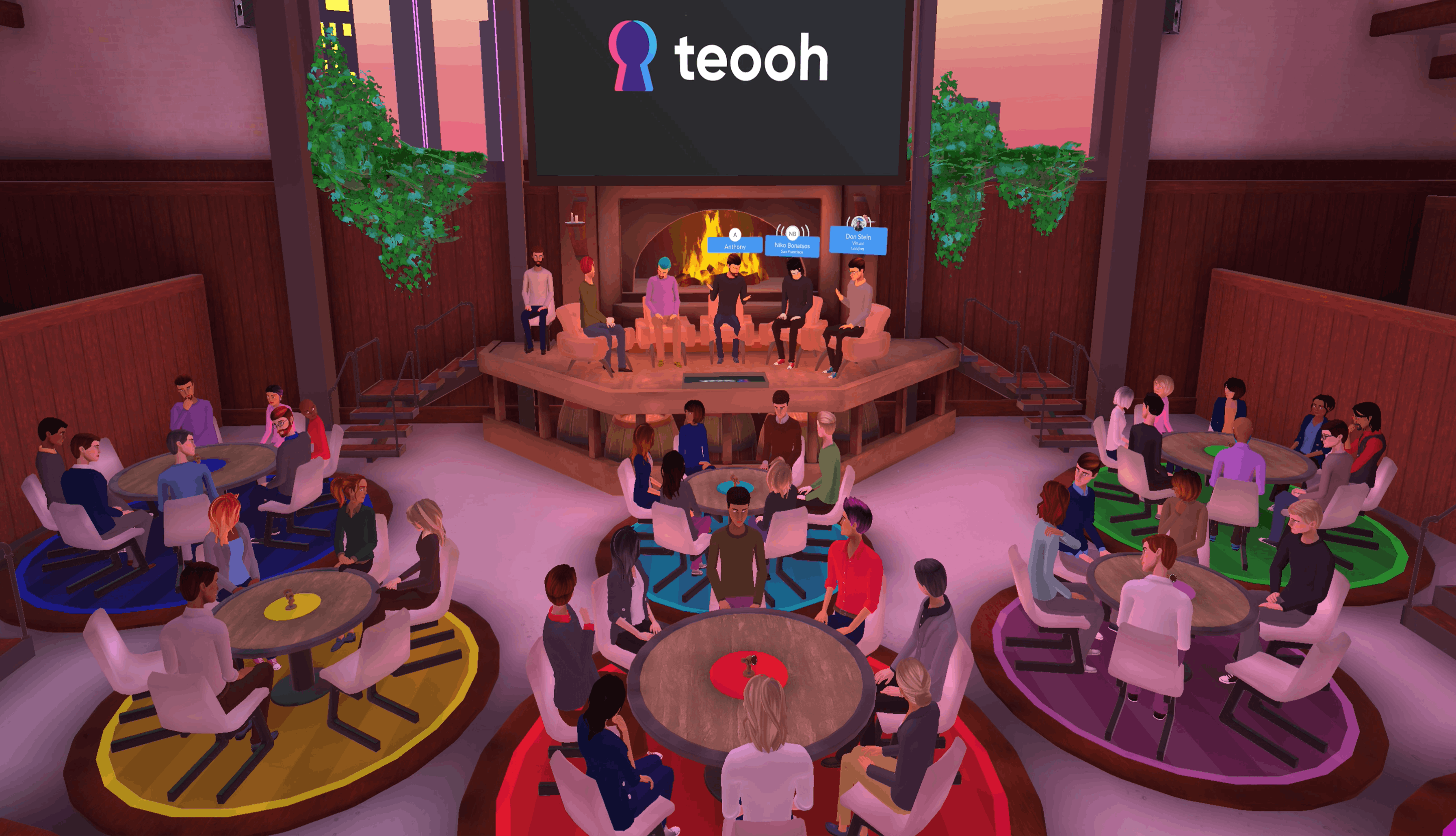 meetings and business networking events in Teooh's avatar based virtual reality platform