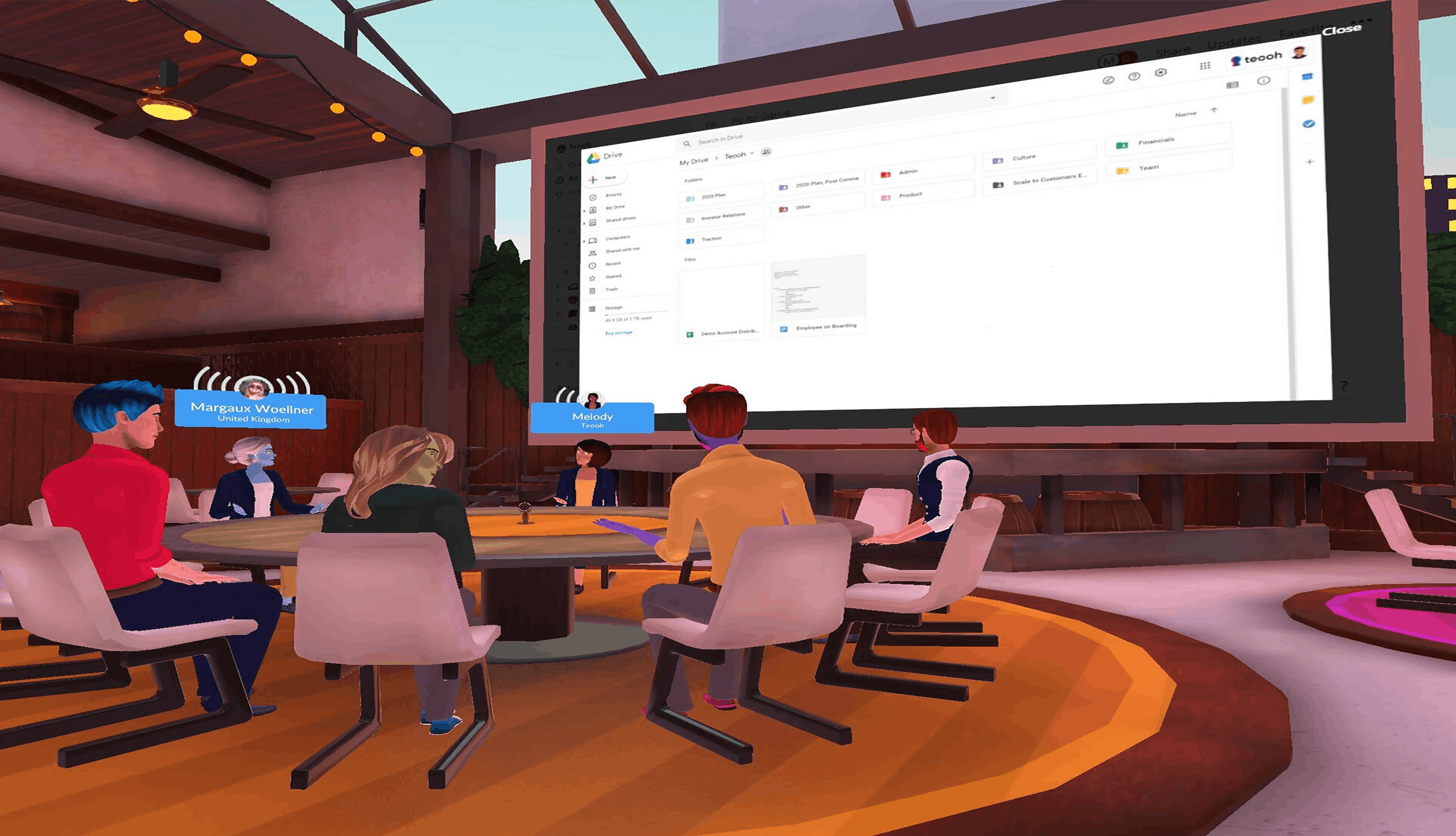 remote company meetings in Teooh's avatar based virtual reality platform