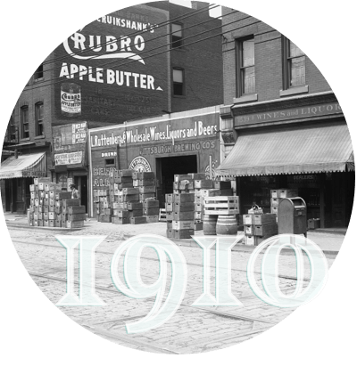 the Strip District Terminal building in 1910, with a wall advertisement for Crubro Apple Butter