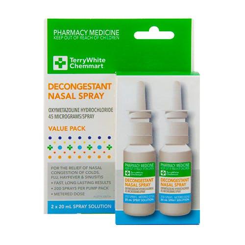 TerryWhite Chemmart Decongestant Nasal Spray 20ml - 2 pack