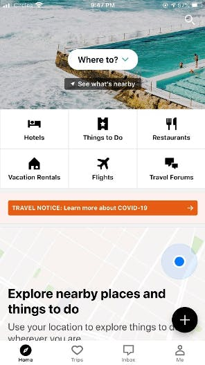 trip advisor, application window