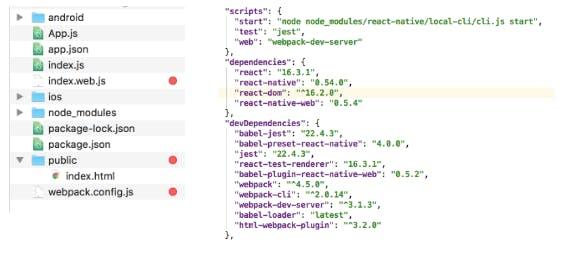 react native, code