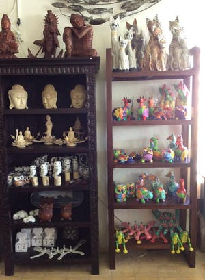 Assortment of hand carved wooden statues