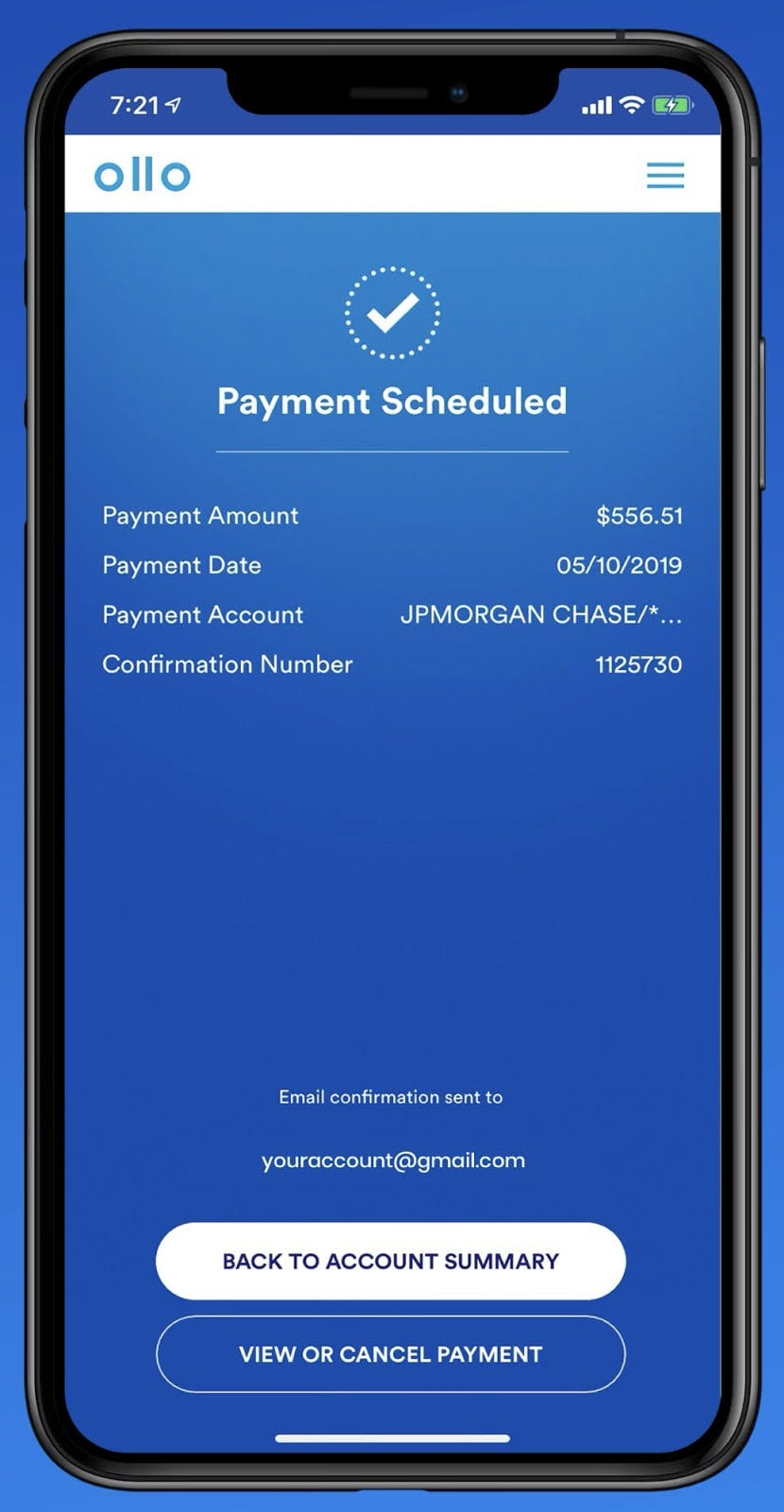 Scheduled payments in the Ollo Credit Card app