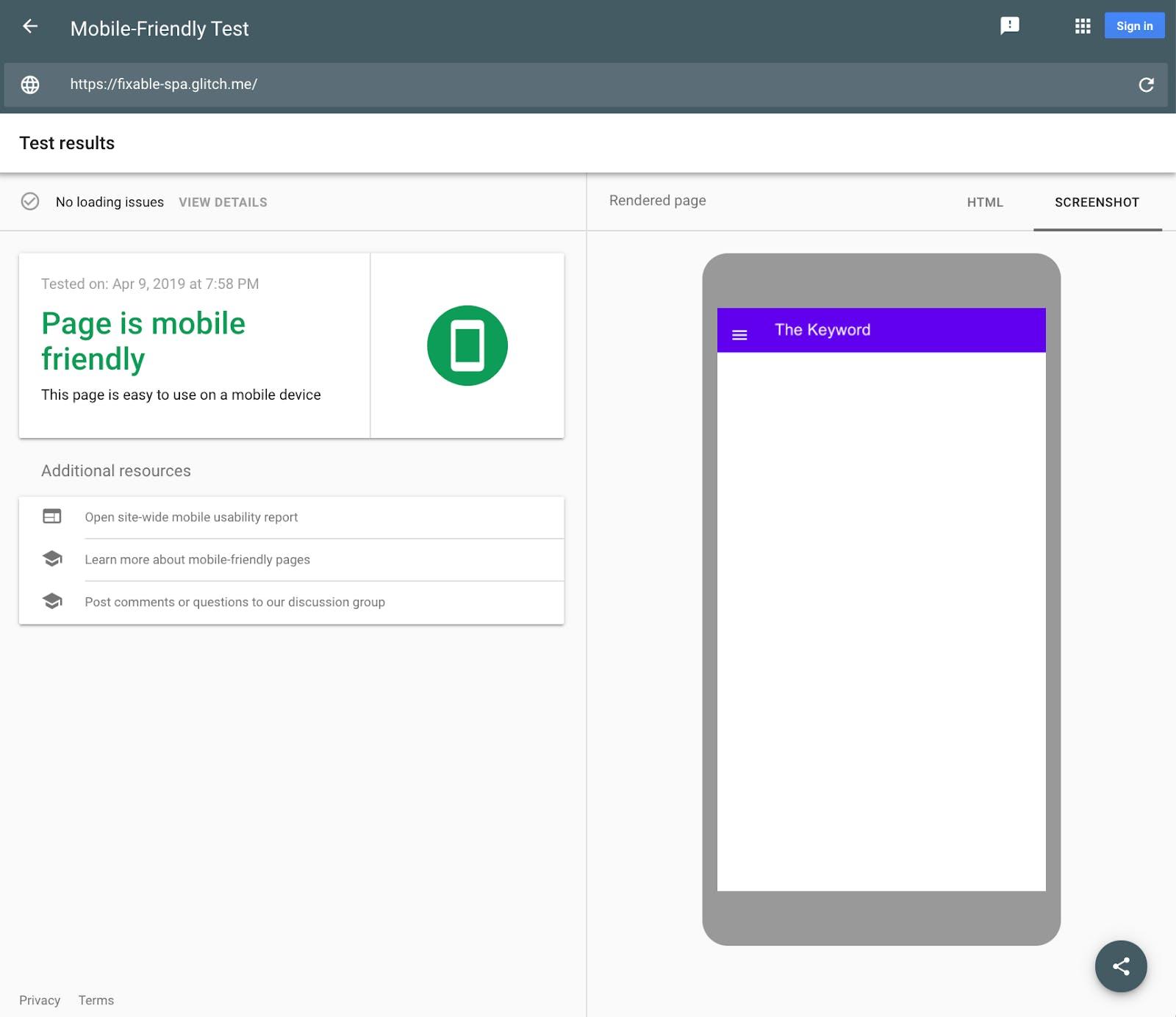 Google's Mobile-Friendly Test demonstrates