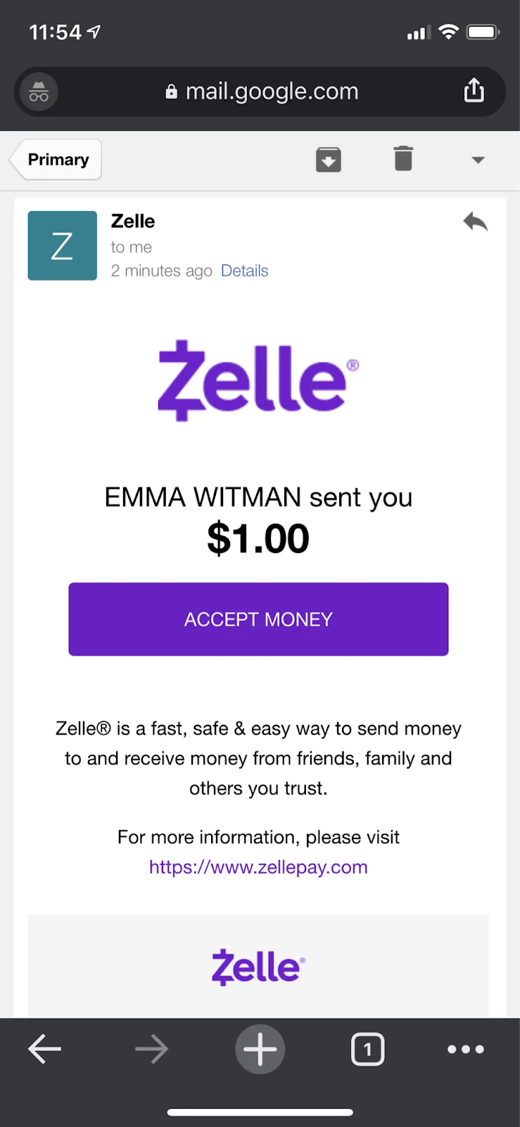 Emailed money transfer notification from Zelle