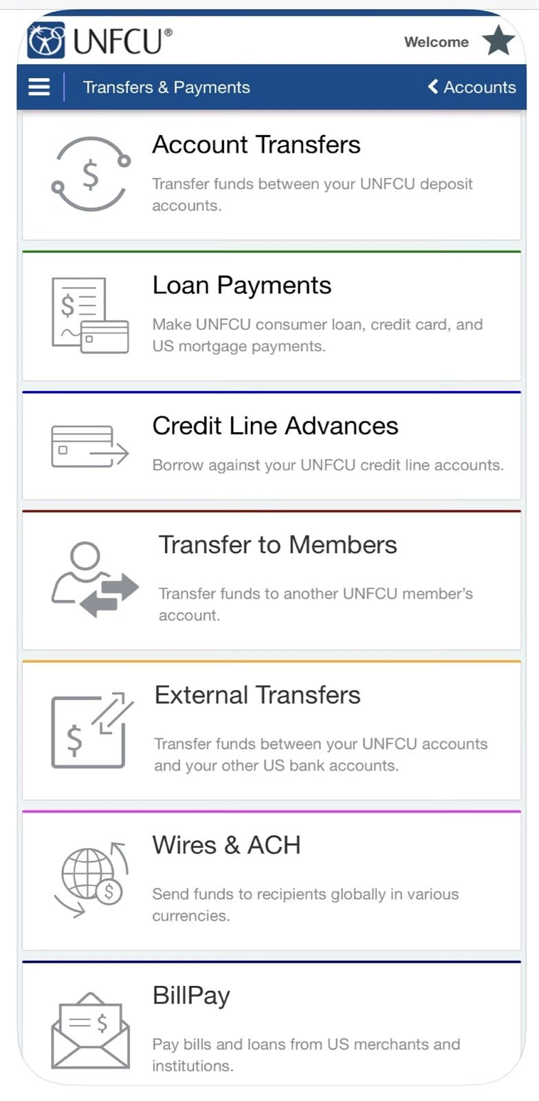 Payment categories in the UNFCU Digital Banking app