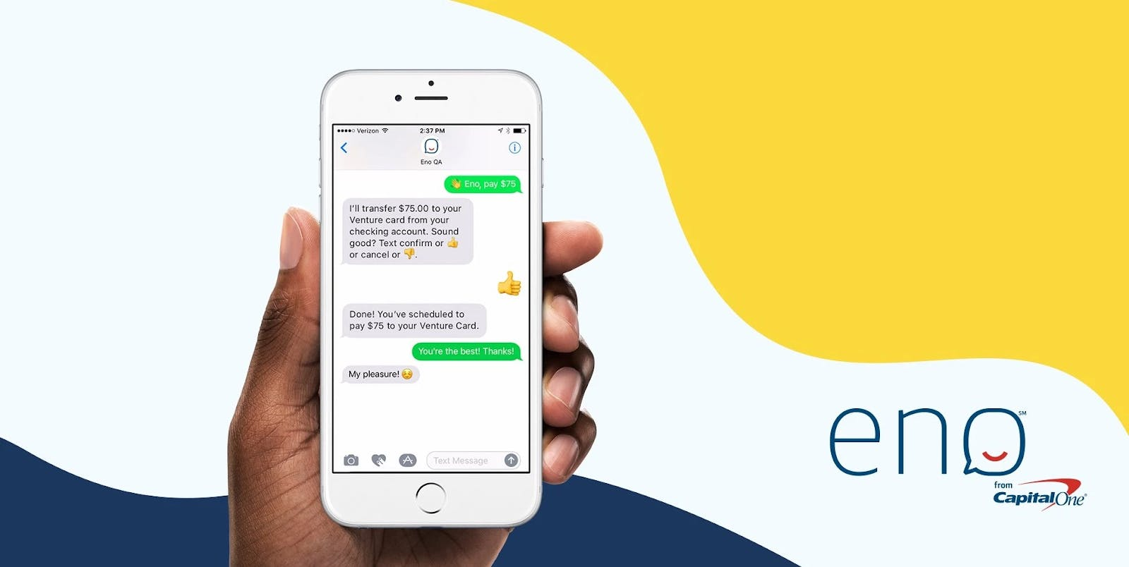Chatting with Capital One's virtual assistant Eno