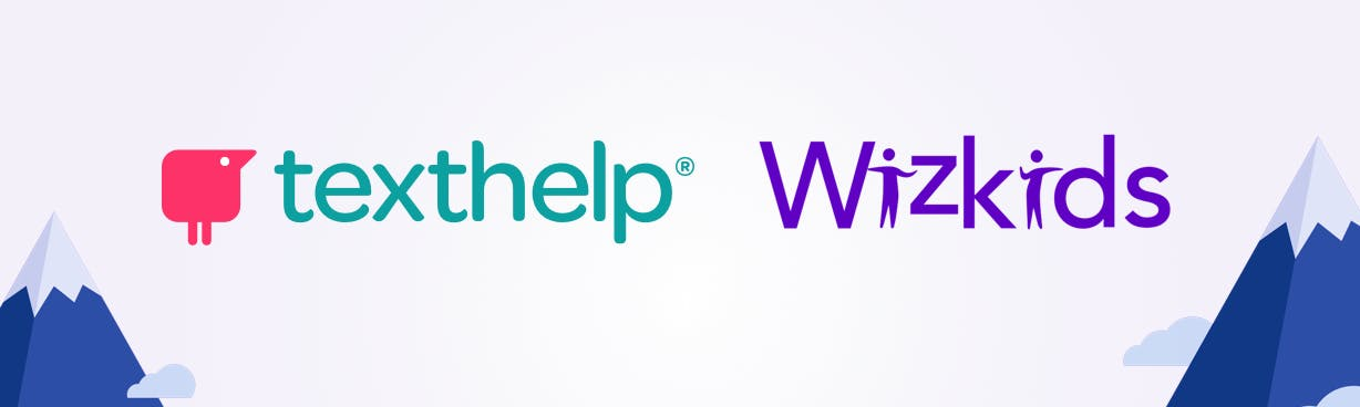 Texthelp and Wizkids logo with mountains in background