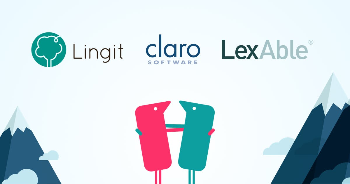 Texthelpers hugging with mountains in background and the Lingit Group, Claro Software, LexAble logos
