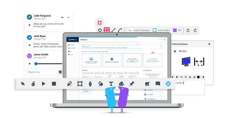 OrbitDoc product toolbars and interface
