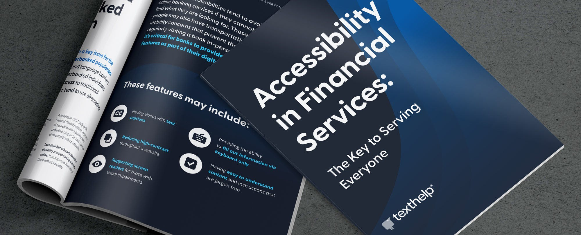 """Front cover and inside spread of """"Accessibility in Financial Services: The Key to Serving Everyone""""."""