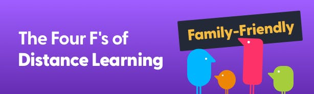 Purple banner with four Texthelpers. Text reads 'The four F's of Distance Learning