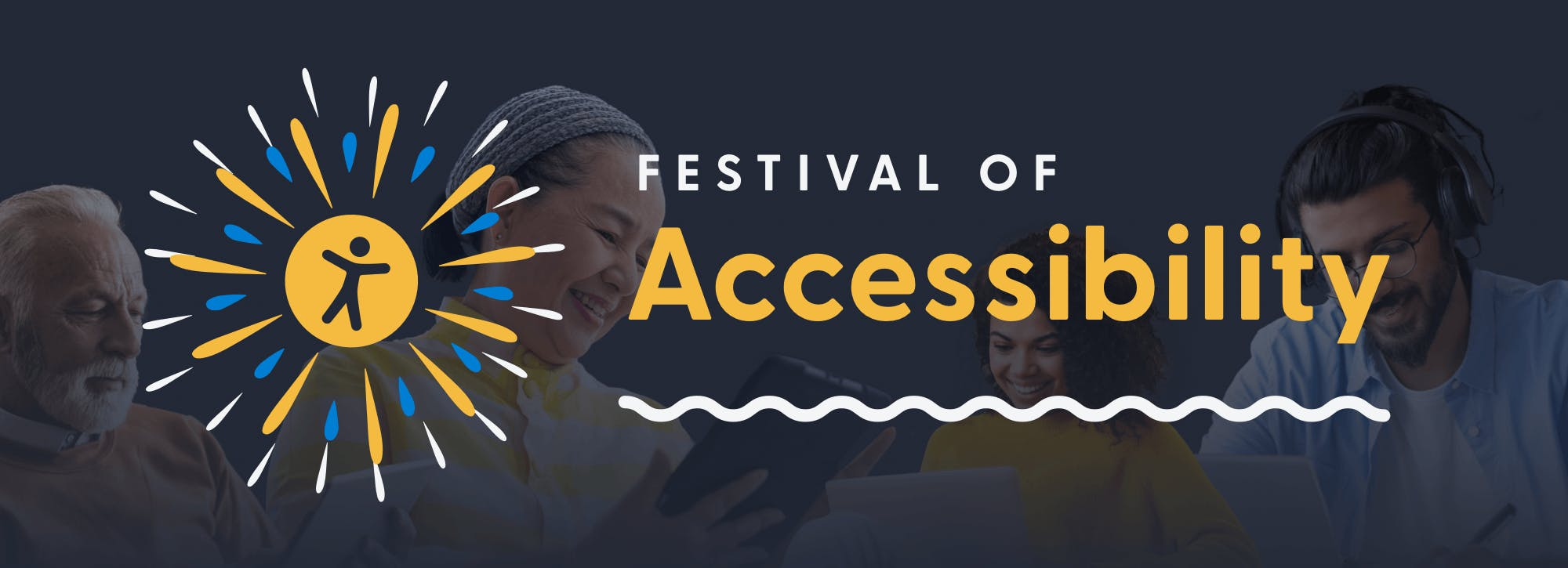 Festival of Accessibility with fireworks and an accessibility logo