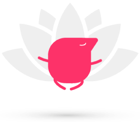 A flotating meditating texthelper with a lotus flower background