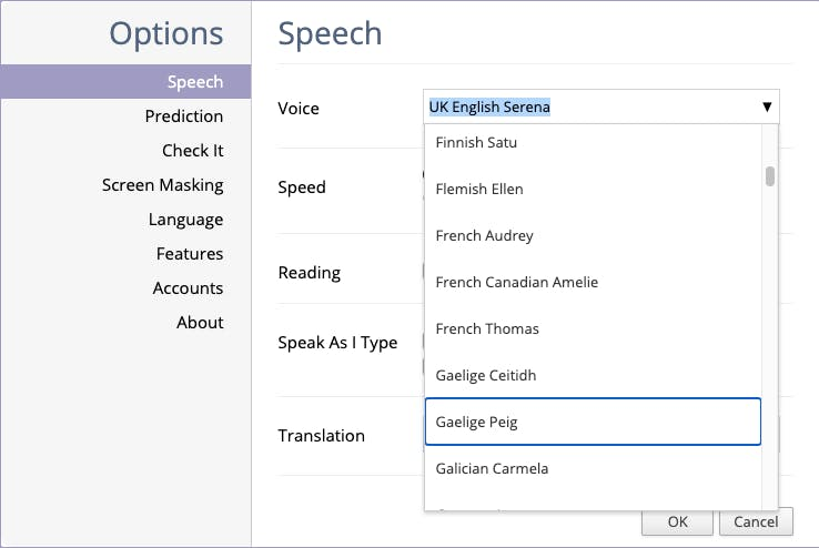 Read&Write for Google Chrome speech settings window with Gaelige Peige selected from the voice drop down menu