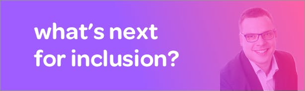 Title 'What's next for inclusion?' with headshot of author Richard Shakespeare