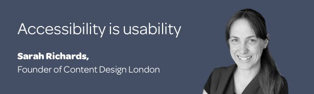 Title 'Accessibility is usability' with a profile photo of Sarah Richards