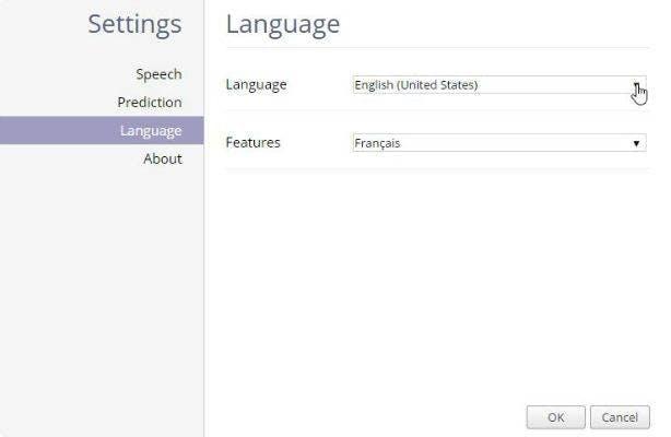 French settings screen shot