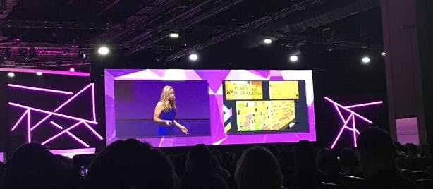 Alicia Duell speaking on stage at ISTE 2019
