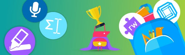 A texthelper holding an award cup, with an oversized cape. A few feature icons floating alongside