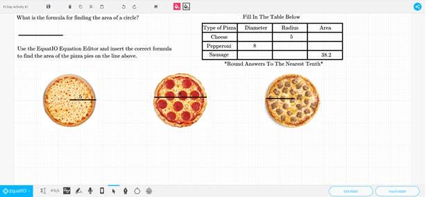 EquatIO mathspace with Pizza Pi activity