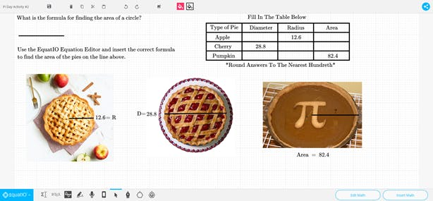 EquatIO mathspace with Dessert Pi activity