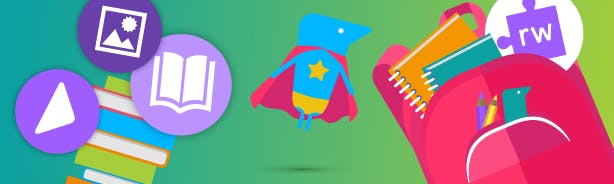 Superhero Texthelper in a cape, beside a backpack full of school stationary and Read&Write logo