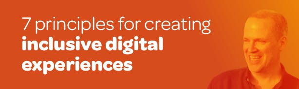 Title '7 principles for creating inclusive digital experiences' with photo of Ceri Balston