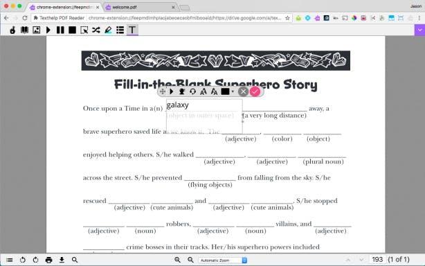 PDF Reader, collaboration tools, text box