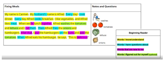 A table showing the highlighters being used in a text paragraph. Each color shows what the student understands and doesn't understand.