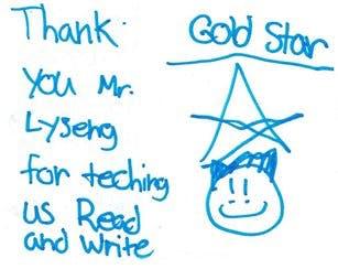 Hand written note from student for teacher