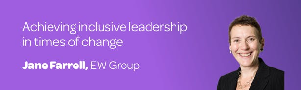 Title 'Achieving inclusive leadership in times of change' with a profile photo of author Jane Farrell