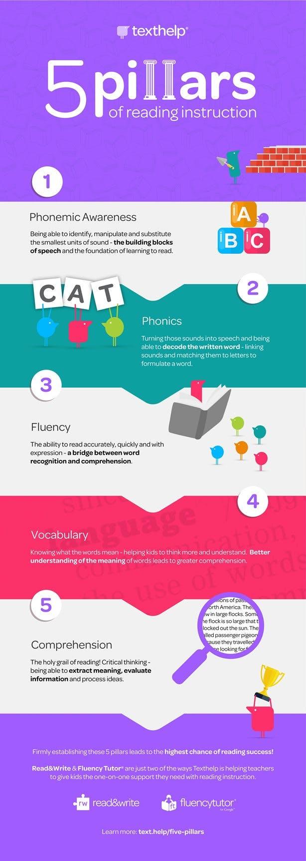 5 pillars of reading instruction infographic