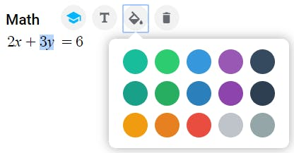 Text color palette in EquatIO
