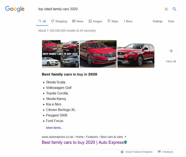top rated family cars 2020 - Google Search