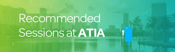 Text reads: Recommended Sessions at ATIA plus Texthelper holding microphone