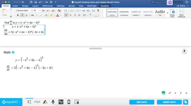 Screenshot of EquatIO editing a Microsoft Equation Item