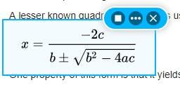 screenshot reader reading the quadratic equation aloud