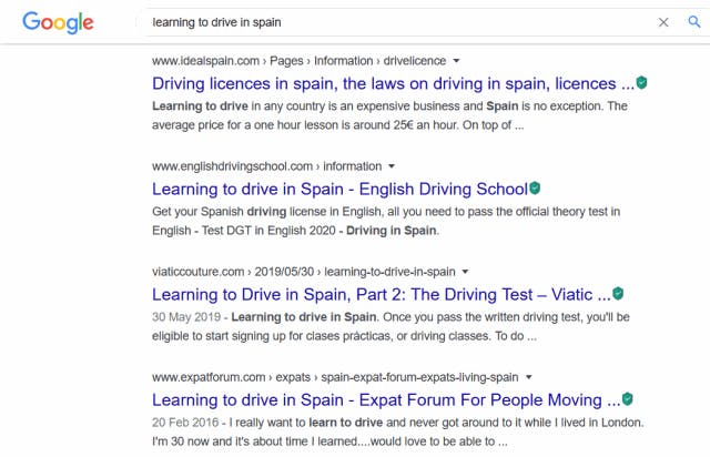 Learning to drive in Spain in Google search results