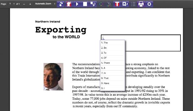 Word prediction screenshot