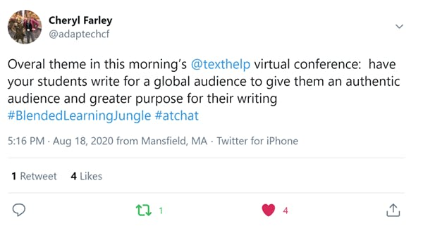 Blended Learning Jungle conference attendee Tweet