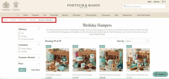Fortnum & Mason birthday hampers breadcrumbs