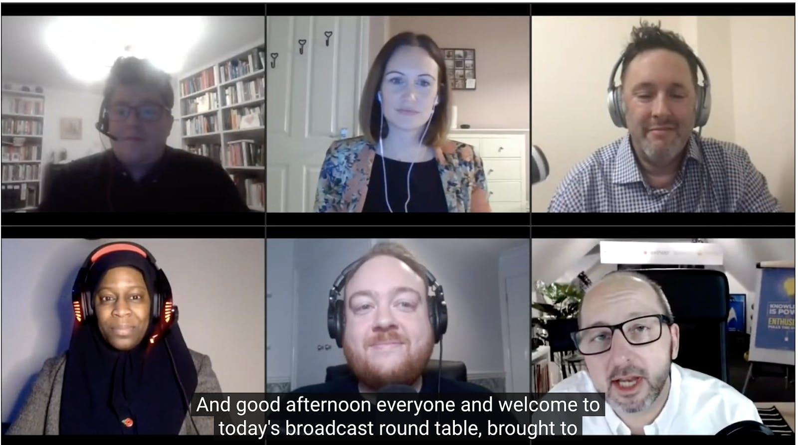 Screenshot of the six panelists during live webinar
