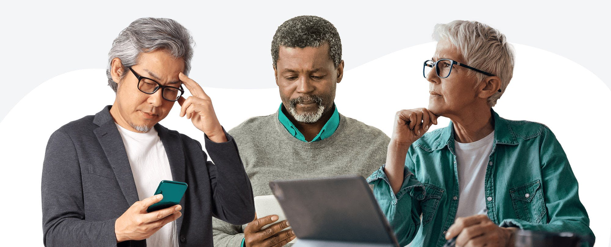 3 senior men and women using smartphones, tablet computers and laptop computers.